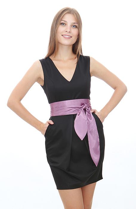 Черное платье с поясом 5 интернет